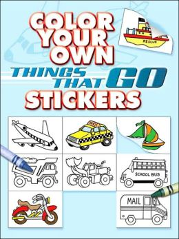 Color Your Own Things That Go Stickers