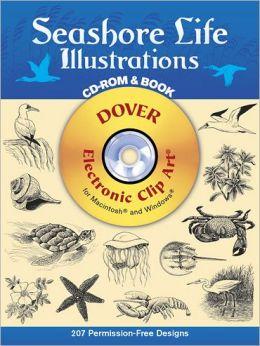 Seashore Life Illustrations (Black and White Electronic Design Series)
