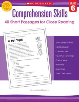 Comprehension Skills: 40 Short Passages for Close Reading: Grade 6 (PagePerfect NOOK Book)