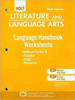 Literature and Language Arts Language Handbook Worksheets, First Course: Additional Practice in Grammar, Usage, and Mechanics