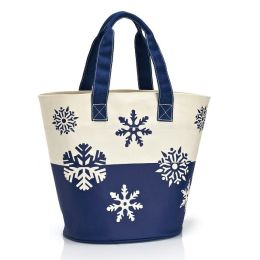 Blue Snowflake Holiday Canvas Tote (12.25
