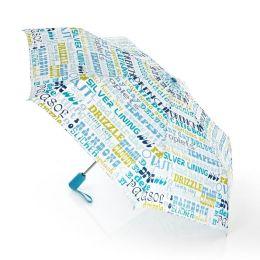 Jonathan Adler Words Blue & Green Folding Umbrella (40.5 Dia)