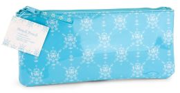English Blue Vines Lined PVC Pencil Pouch 4x9