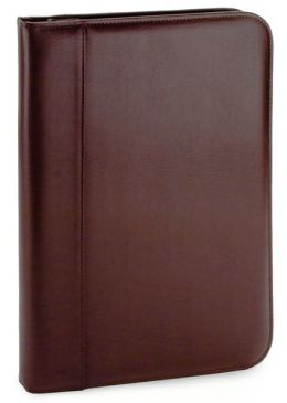 Brown Bonded Leather Business Folio with Memo Pad