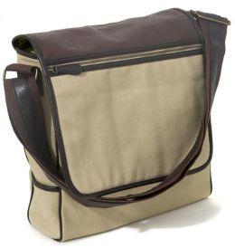Khaki Vertical Canvas Messenger Bag w/Faux leather trim(13 x 3 x 12)