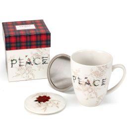 Lidded Tea Mug with Strainer - Peace