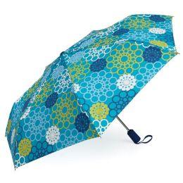 Jonathan Adler Meadow Mosaic Blue Teal Umbrella (40.5 Dia)