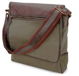 Olive Green Vertical Canvas Messenger Bag with Faux Leather Trim (13 x 3 x 12)