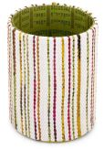 "Product Image. Title: Green Stripe Recycled Newsprint Round Pencil Cup (4.5"")"