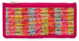 Pink Multi Chindi Woven Pencil Pouch 8.5