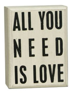 All You Need is Love White Small Box Sign (4x3x1.75)