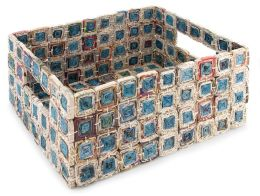 Recycled Newspaper Medallion Basket (12.5x9.75x5.25)