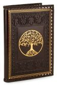 "Product Image. Title: Tree of Life Brown Gold Stitched Italian Lined Leather Journal (6.5""x 9.25"")"