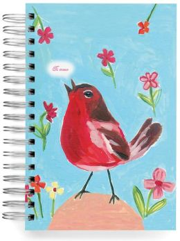 100% Recycled Red Robin Lined Spiral Journal 6x9