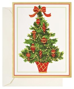 Tree With Red Ornaments Christmas Boxed Card