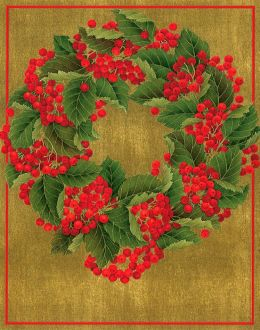 Holly Wreath Christmas Boxed Card