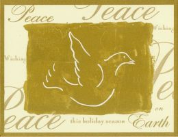 PEACE ON EARTH GOLD DOVE CHRISTMAS BOXED CARD