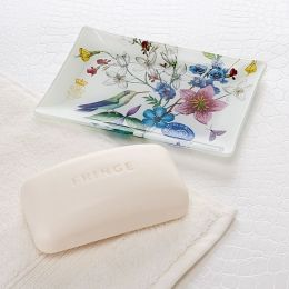 Hummingbird Soap and Glass Tray Set in Gift Box