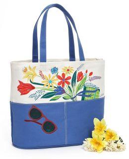 Floral Bouquet Cornflower Blue Canvas Tote (16x7x14)
