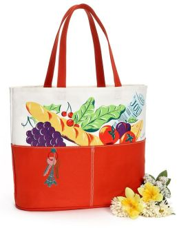 Parisian Market Tomato Red Canvas Tote (16x7x14)