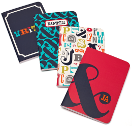 Jonathan Adler Multi Alphabet Miniature Journals-Set of 4 (4x6)