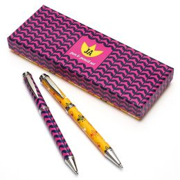 Jonathan Adler Multi Flowers Pen & Pencil Set (6.5x2.5x1)