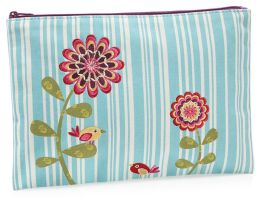 Blue Stripe with Flowers Canvas Accessory Pouch 7
