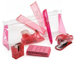 Mini Pink Stationery Set in Pouch (6 Items) 6.75