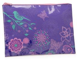 Sparrow Floral Purple Vinyl Accessory Pouch 7