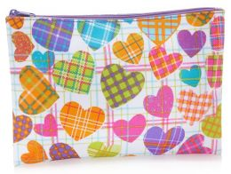 Plaid Hearts Coated Cotton Accessory Pouch 7