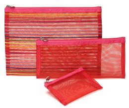 Rainbow Stripes Pink Mesh Pouch Set of 3 - 9.75