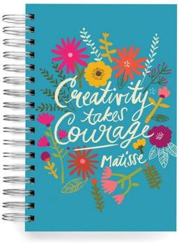 100% Recycled Creativity Takes Courage Quote Lined Spiral Journal 6x9