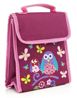 Purple Owl Fold Over Lunch Tote (9.5 x 8 x 4)