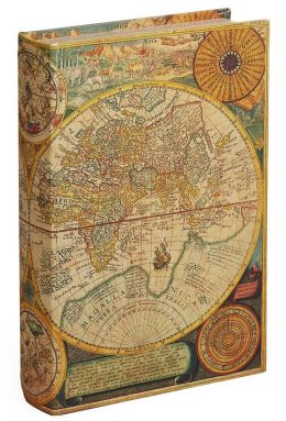 World Map Fabric Book Box 10.2'' x 6.7'' x 2''