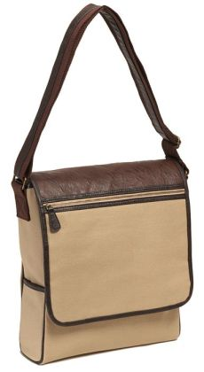 Khaki Canvas Messenger Bag with Brown Leather Look Handles (13'x13'x4