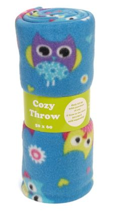Hooty Owl Blue Microfiber Fleece Throw 50
