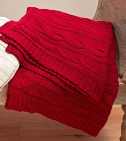 Red Cable Knit Cotton Throw 50