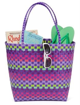 Purple Multicolor Woven Summer Tote 17'' x 7'' x 14''