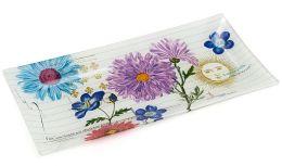 Printemps Fleur Transferware Glass Tray 9'' x 4.5''