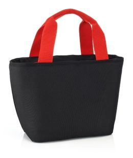 Black & Red Basket Lunch Tote 13 X 8 X 5