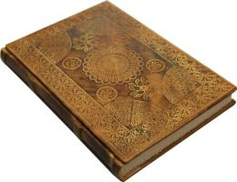 Antique Gold Byzantine Design Hardbound Italian Leather Journal- Lined (6''x8'')