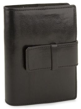 Roma Black Italian leather Refillable Journal w/ Bold Tab Closure -Lined(5