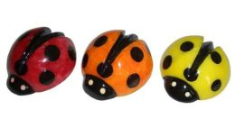 Miniature Italian Alabaster Handpainted Ladybug Paperweights- Set of 3