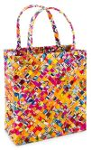 Product Image. Title: Multi Colors Medium Recycled Juice Label Book Tote (9.5x8.5)