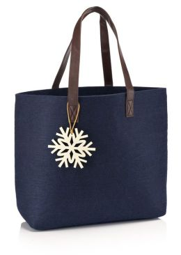 Blue Felt Tote Bag with Leather Look Handles(12.25' x 14.25