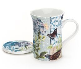 Blue Floral & Butterflies Mug with Lid in Gift Box, 10 oz.