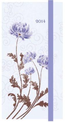 2014 Weekly Planner 3x6 Purple Mums Flexi Engagement Calendar