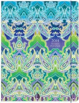 2014 Monthly Planner 7.5x9.75 Indian Paisley Sewn Engagement Calendar
