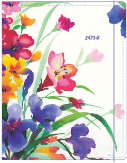 2014 Monthly Planner 7.5x9.75 Watercolor Garden Sewn Engagement Calendar
