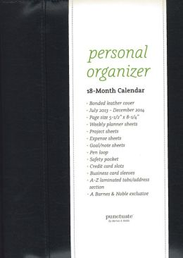 2014 Organizer 8.25 Black Bonded Leather Zipper Calendar